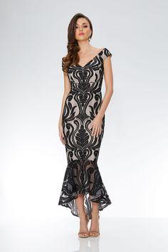 Vestido Negro y Gris Piedra de Encaje, Cuello Bardot y Bajo Asimétrico