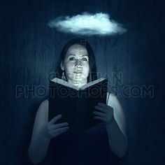 A woman reads her Bible with a ladder reaching to the clouds.