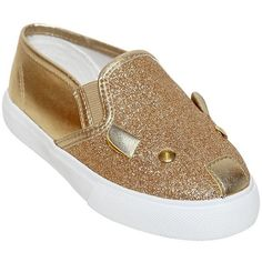 Little Marc Jacobs Kids-girls Glittered Leather Slip-on Sneakers (895 NOK) ❤ liked on Polyvore featuring gold