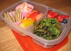 That's not salad - it's KALE CHIPS - so healthy, crunchy, and low calorie! You'll find the recipe on my blog. Served with shrimp, Triscuit crackers, fruit and veggies.