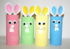 toilet paper roll bunnies / Wielkanocne zajączki z rolek Bunny Crafts, Paper Crafts For Kids, Easter Crafts, Projects For Kids, Paper Crafting, Diy Ostern, Toilet Paper Roll Crafts, Diy Recycle, Baby Art