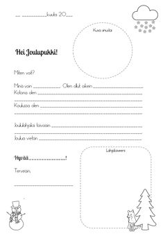 Finnish Language, Christmas Cards, Xmas, Preschool Christmas, Kindergarten, Calendar, Writing, Holiday, Crafts