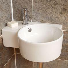 Bathroom Sink Wash Basin Wall Mounted Hung Corner Ceramic Bowl Circle Right Hand Cloakroom Sink, Corner Sink Bathroom, Small Bathroom Sinks, Basin Sink Bathroom, Bathroom Layout, Modern Bathroom Design, Washroom, Bathroom Ideas, Corner Basin