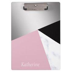 Elegant geometric silver white marble pink black clipboard  $36.40  by Elipsa  - cyo customize personalize diy idea