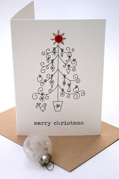 'Merry Christmas' Button Box Card.