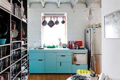 1- cozinha armário azul moderna