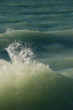 green sea waves