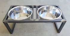 This handcrafted pet feeder elevates your pets food/water to a more comfortable level. It features 2 removable stainless steel bowls of 5 quart capacity. The frame is fully welded and has a clear coat. Dog Bowl Stand, Pet Feeder, Desktop Organization, Steel Doors, Industrial Style, Dog Bowls, Metal Working, Your Pet, Door Handles