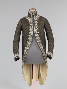 Coat (Cutaway), 1780–90, French, silk. The narrow silhouette of the late 18th century is portrayed brilliantly in this court coat. Although this would have been worn with a coordinating breeches and a waistcoat originally, the extant coat alone shows the importance attached to complex and visually intriguing surface decoration provided by embroidery, appliqué and unique textiles.