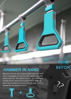 Hammer In Hand – Emergency Handle by Shi Qiang - The Hammer in Hand concept integrates a clever window-shattering hammer, which can be used in case of an emergency situation in a train or a bus. Read more at http://www.yankodesign.com/2013/12/04/this-hammer-will-hurt-em/#qHk3LzIGRc4l6vZD.99