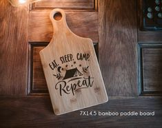 Eat Sleep Camp Repeat design, outdoor camping gift, family cutting board  housewarming, engraved wood,  gift for Mom, Dad