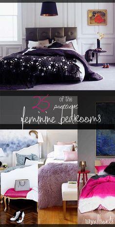 25 of the Prettiest Feminine Bedrooms. A great source of inspiration for teen & adult girl bedrooms!