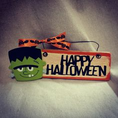 Frankenstein hand painted wooden sign door hanger by gonepostal09 on Etsy