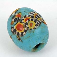 SKJ Ancient Bead Art | Ancient Mosaic Glass Bead, material: glass, origin: Unknown. Islamic World, condition: Very Good - Excellent, age: est. 700 - 1000 years.