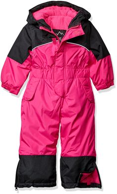 iXtreme Baby Little Girls' One Piece Snowmobile, Berry, 4T. Color block coverall, one piece snowsuit with gator closures as leg opening. Zip front closure front. Zipper at leg for boot access. Polyester filled for extra warmth. Side entry pockets.