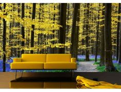 """Our mural """"Yellow and Blue Forest"""". A wallpaper mural from Muralunique.com. Photography by Lars van de Goor."""