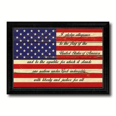 The Pledge of Allegiance American USA Flag Vintage Canvas Print with Black Picture Frame Home Decor Wall Art Gift Ideas