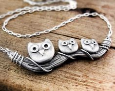 Owl family necklace silver handmade by lulubugjewelry on Etsy from lulubugjewelry on Etsy. Saved to Accessorize Me: Animals. Owl Jewelry, Clay Jewelry, Jewelry Design, Jewelry Rings, Handmade Silver, Handmade Jewelry, Owl Family, Family Necklace, Owl Necklace