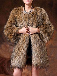 Deluxe Collarless Faux Fur Coat