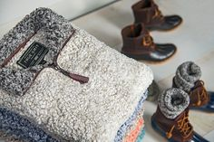 Those cool, crisp fall days are just around the corner.  What better to keep you warm than a True Grit Frosty Tipped Fleece and Sperry Top-Sider Duck Boots to help keep your feet dry on those rainy days.