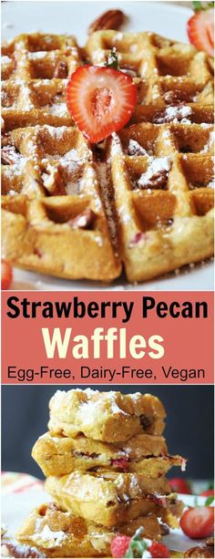 Southern Strawberry Pecan Waffles (Egg-free, Dairy-free, Vegan). This delicious vegan waffle recipe turns out the most fluffy, crispy, and perfect Belgian waffles. Make them for a Sunday morning brunch and you'll have everyone raving. These are my favorite! www.veganosity.com