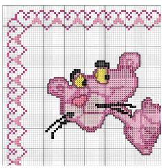 Pantera rosa Cross Stitch Owl, Cross Stitch Borders, Cross Stitching, Cross Stitch Embroidery, Cross Stitch Patterns, Panthères Roses, Loom Bracelet Patterns, Sewing Humor, Crochet Stitches Patterns