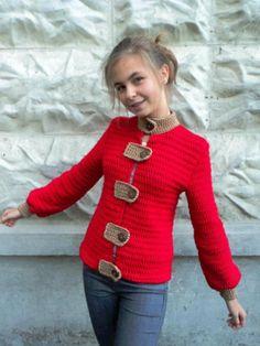 Kırmızı uzun kollu kızlar için hırka modelleri