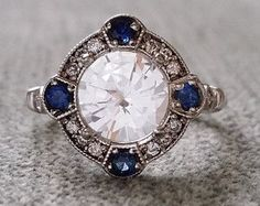"Estate Halo White Sapphire Diamond Antique Engagement Ring Victorian Art Deco Edwardian 14K White Gold ""The Charlotte"""