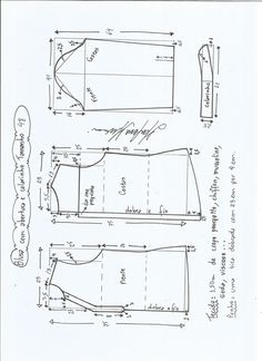 Esquema de modelagem de blusa com abertura e meio colarinho tamanho 48.