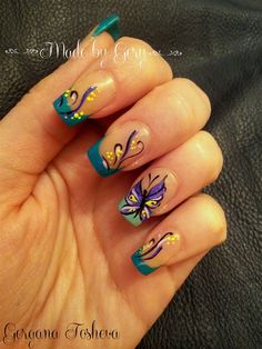 Green French - Nail Art Gallery