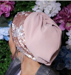 Items similar to Jersey turban with reversible sequin band occasion turban on Etsy Turban Tutorial, Hijab Tutorial, Hijab Turban Style, Turban Hat, Hijab Fashionista, Beautiful Blonde Girl, Fashion Sewing, Scarf Styles, Fashion 2020