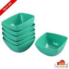 Servewell 6 Pc Square Veg Bowl Set - Sea Green
