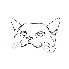 Cute Cat Continuous Line Drawing Vector Illustration Minimalist Design, Isolated, Drawing, Outline P Outline Art, Outline Drawings, Easy Drawings, Animal Line Drawings, Tattoo Drawings, Cat Drawing, Drawing People, Line Drawing Art, Art Abstrait Ligne