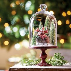 Improvements Winter Wonderland Santa Dome Christmas Decoration ($40) ❤ liked on Polyvore featuring home, home decor, holiday decorations, christmas cloche, christmas decor, christmas dome, indoor christmas decor, glass home decor, christmas holiday decorations and christmas home decor