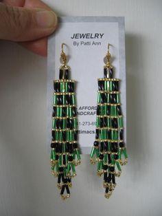 Seed Bead Earrings - Bargain Basement - Green/Black.
