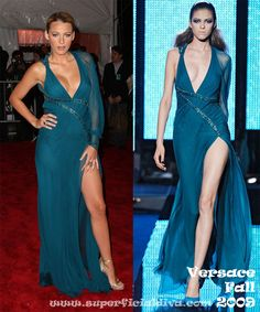 Gossip Girl Blake channels her inner bombshell in a plunging neck blue Versace gown with a sexy thigh-high slit. From Versace's Fall 2009 Collection.