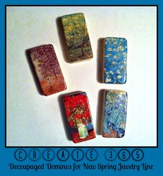 ConstantlyAlice: Create 365 - Decoupaged Dominos for New Spring Jewelry Line