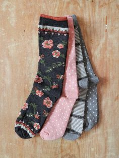 Made in the U.S. soft cotton socks in spring floral, stripes, and polka dots.