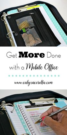 What if I said I'd found a way to turn sitting in the car, waiting for the kiddos time into to-do list butt-kicking, getting-all-the-things done-time? Time to Get Organized and Get More Done with a Mobile Office! | Calyx and Corolla