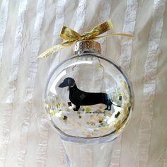 Dog Silhouette Ornament Globe / Dachshund by silhouettesbylena, $12.00