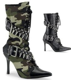 Camoflauge High Heel Boots Size 9. Omg I want these!!