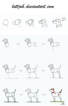 Simple Dog Body Tutorial by Lottjuh on DeviantArt Art Drawings For Kids, Pencil Art Drawings, Animal Drawings, Easy Drawings, Drawing Sketches, Cartoon Dog Drawing, Book Drawing, Dog Drawing Tutorial, Dog Drawing Simple