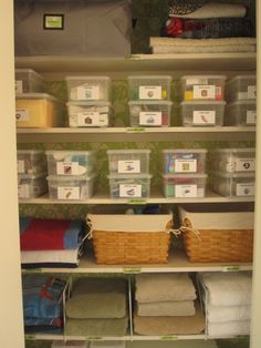 Organizing linens: Perfectly Organized Linen Closet// I like the labeled bins, baskets, and dividers (so things don't fall into each other).