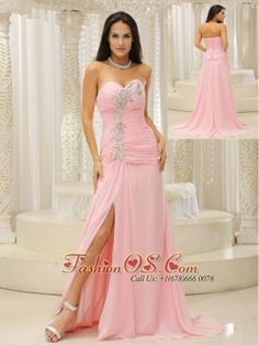 High Slit and Ruched Bodice For Evening Dress Beading Sweetheart For Custom Made    http://www.fashionos.com  Pink prom dress is full of mystery that attracts others'attention when you go out for the party.The strapless sweetheart bodice is accented with the beadings and pleats.The slit makes the dress more sexy.The skirt begins from hips to cascade to the floor but do not want to be troubled by a long train.The chiffon dress flowing freely.