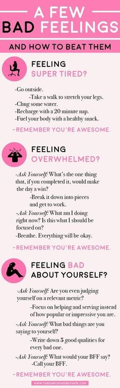 A few bad feelings– and how to beat them. Use this positive thinking chart for … A few bad feelings– and how to beat them. Use this positive thinking chart for a boost of positivity whenever you're having a bad day at work! The Words, Affirmations, Bad Feeling, Feeling Happy, How To Feel Happy, Happy At Work, When Youre Feeling Down, Feeling Depressed, Stay Happy