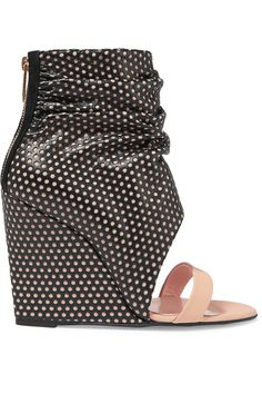 JÉRÔME DREYFUSS ELLA CALE PERFORATED LEATHER WEDGE SANDALS $369.77 http://www.theoutnet.com/product/771953