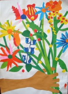 Art Lessons For Kids - Painting With Paper Matisse flowers.  Supplies:  flesh colored construction paper, variety of colored papers for flowers