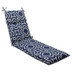 Outdoor Chaise Lounge Cushion - Blue/White Geometric