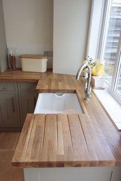 Your Dream Kitchen Bathroom Awaits Kitchen Units, New Kitchen, Kitchen Dining, Kitchen Decor, Wooden Kitchen, Oak Wood Worktops, Solid Wood Kitchen Worktops, Cuisines Design, Kitchen Flooring