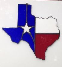 State of Texas Stained Glass Suncatcher Stained Glass Projects, Stained Glass Patterns, Stained Glass Suncatchers, Texas Star, Wood Mosaic, Lone Star State, Broken Glass, Mosaics, Tiffany